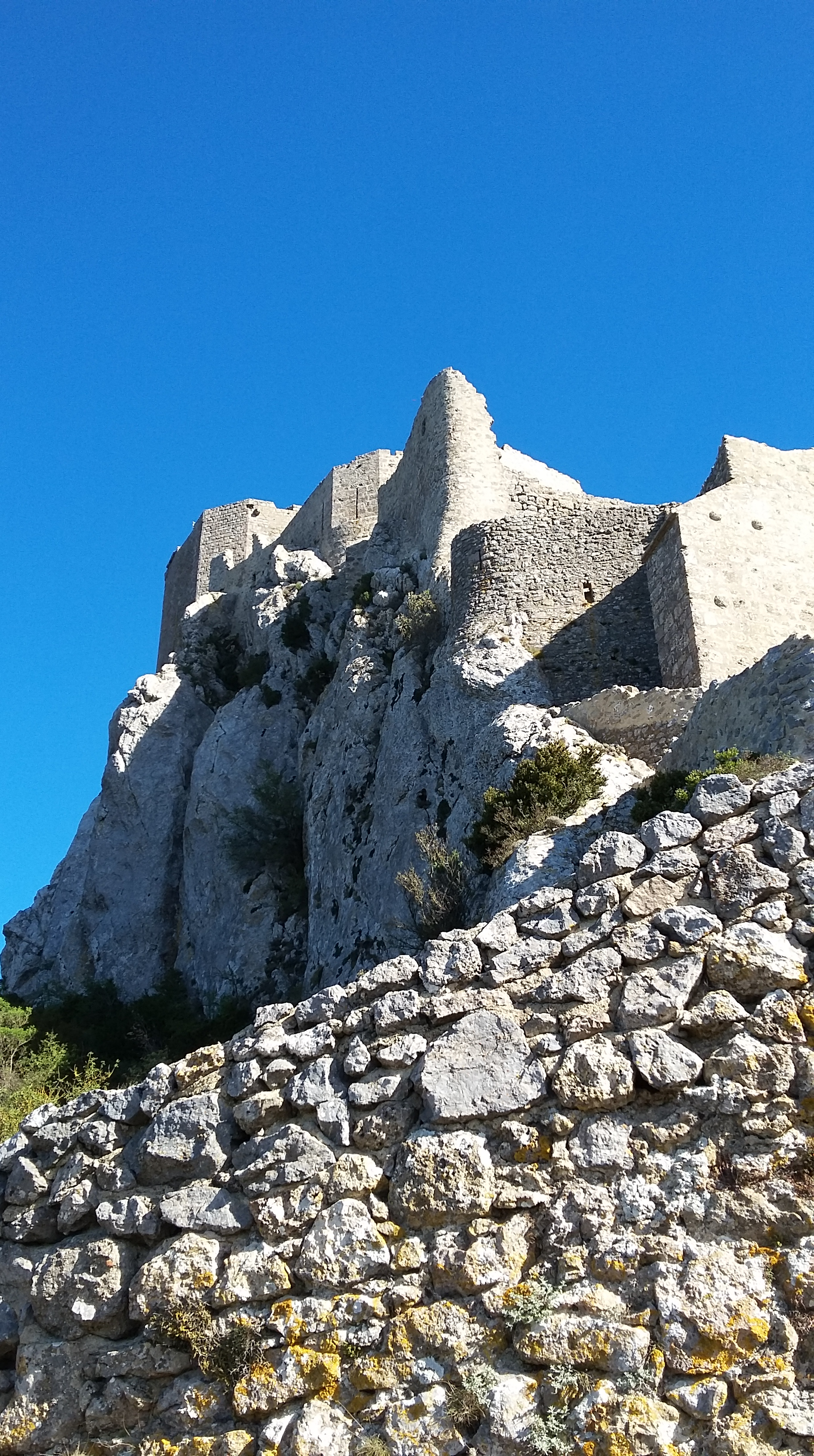 a view of queribus an old cathar castle - Transitional Castle 2016
