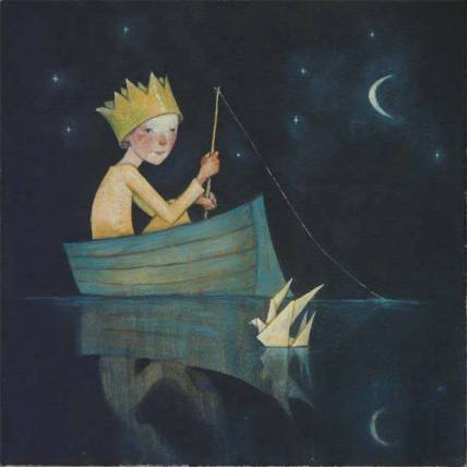 crowned child in a boat